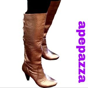Apepazza Gold Pebbled Leather Knee High Boots
